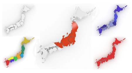 Map of Japan on white isolated background. 3d photo