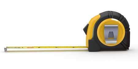Tools. Measure tape on white background. 3d Stock Photo