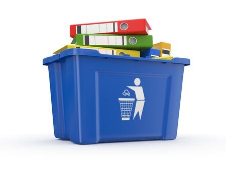 eliminate: Folders in recycle bin on white background. 3d