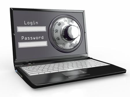 lösenord: Laptop med stål säkerhetslås. Lösenord. 3d