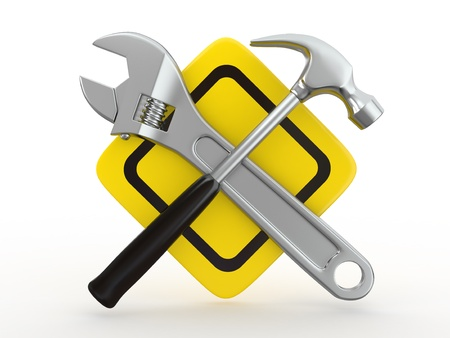 customise: Utility. Tools, Wrench and hammer on white bsckground. 3d Stock Photo