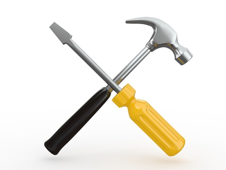 customize: Utility. Tools, screwdriver and hammer on white bsckground. 3d Stock Photo