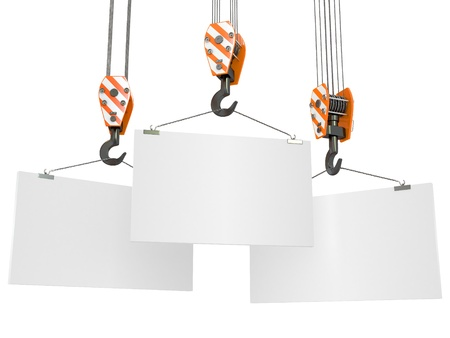Crane hooks with empty boards on white background. 3d photo