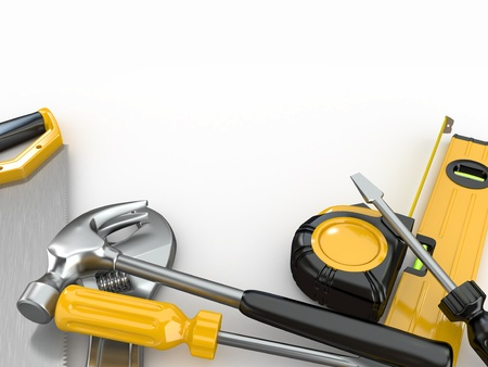 workwear: Tools. Hammer, screwdriver, wrench and other. 3d Stock Photo