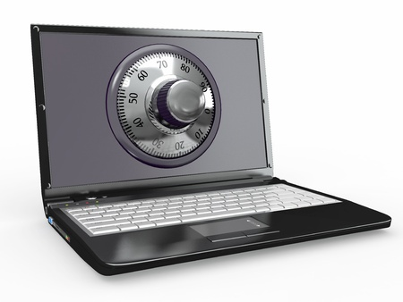 Laptop with steel security lock. Password. 3d Stock Photo - 11760689