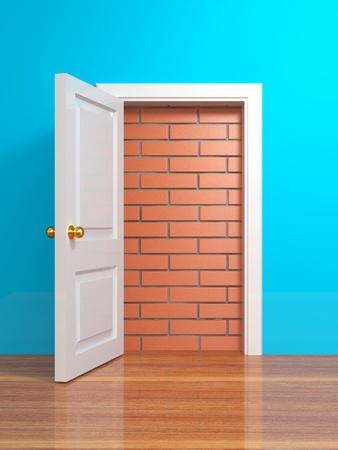 No escape and entrance. Doors laid bricks. 3d Stock Photo - 11771104