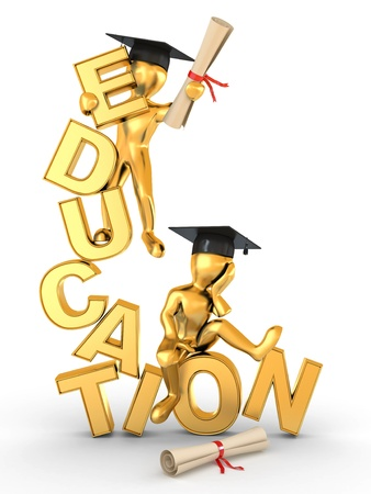 knowledge concept: Man with diploma on text education. 3d