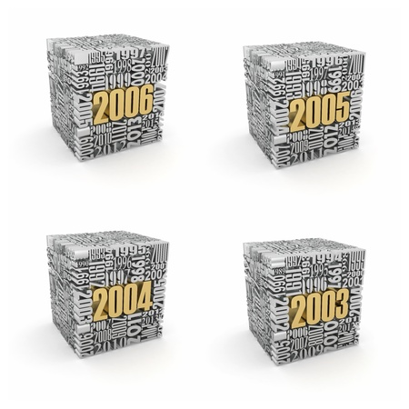 anticipation: New year 2006, 2005, 2004, 2003. Cube consisting of the numbers. 3d Stock Photo