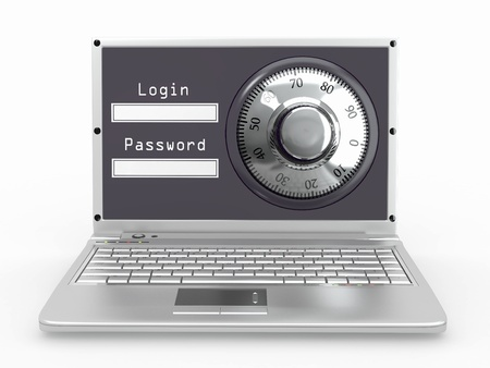 password protection: Laptop with steel security lock. Password. 3d Stock Photo