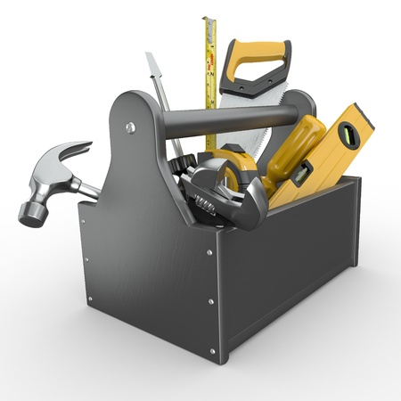 maintenance: Toolbox with tools. Skrewdriver, hammer, handsaw and wrench. 3d
