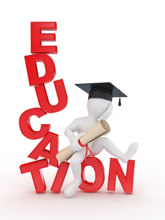 education help: Man with diploma on text education. 3d