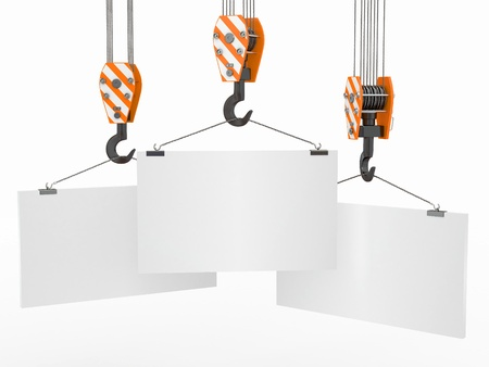 pulley: Crane hooks with empty boards on white background. 3d