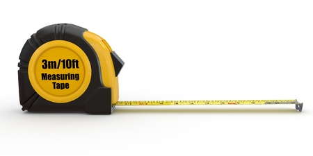 measure: Tools. Measure tape on white background. 3d Stock Photo