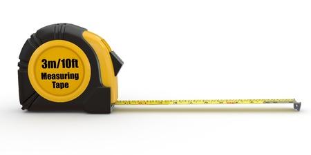Tools. Meet tape op een witte achtergrond. 3d Stockfoto