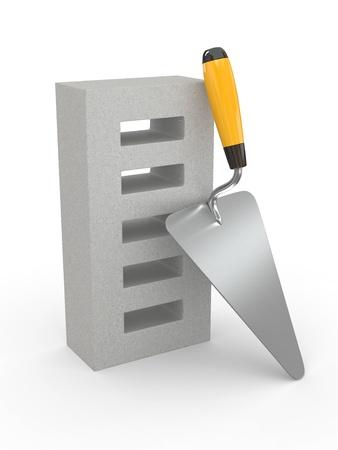 freemasonry: Trowel and brick on white background. 3d Stock Photo