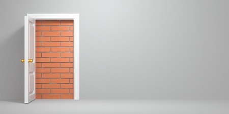 No escape and entrance. Doors laid bricks. 3d Stock Photo