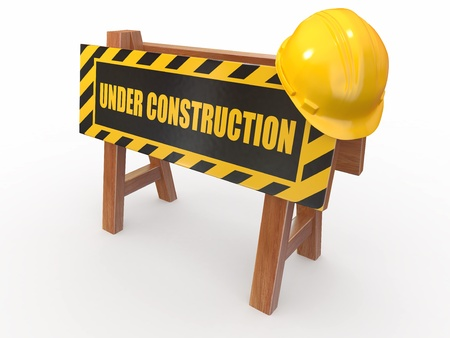 building construction site: Barrier with text under construction and hardhat. 3d Stock Photo