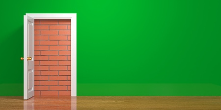 unavailability: No escape and entrance. Doors laid bricks. 3d Stock Photo