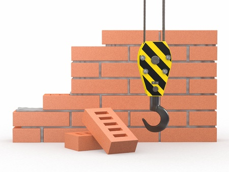 Under construction. Brick wall, crane and hardhat. 3d Stock Photo - 11866676