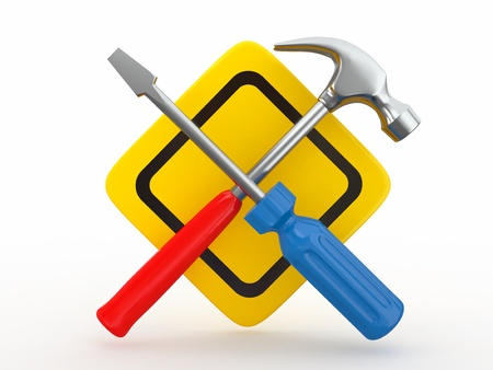 customise: Utility. Tools, screwdriver and hammer on white bsckground. 3d Stock Photo