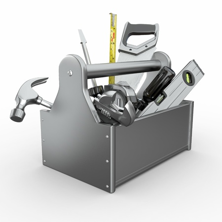 Toolbox with tools. Skrewdriver, hammer, handsaw and wrench. 3d photo