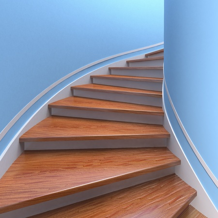 wooden stairs: Way up. Three-dimensional spiral wooden staircases. 3d