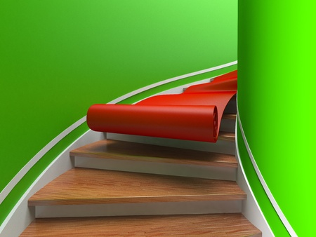 Red carpet on spiral wooden staircases. 3d photo