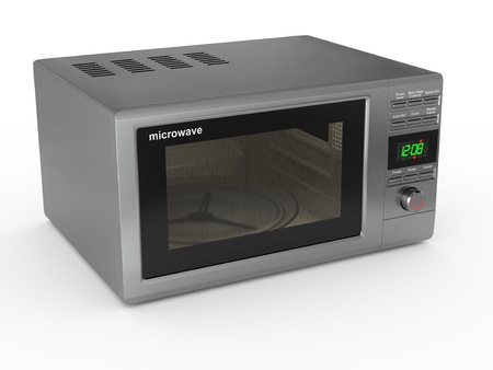 Closed metallic microwave on white background. 3d photo