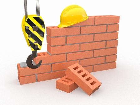 paredes de ladrillos: En construcción. Pared de ladrillo, una grúa y un casco. 3d Foto de archivo