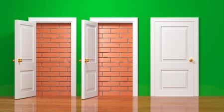 unavailability: No escape and entrance. Doors laid bricks. 3d Stock Photo