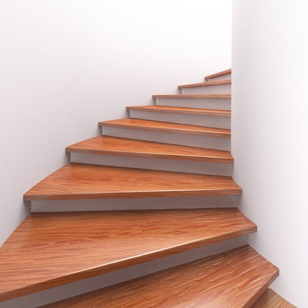 stairs interior: Way up. Three-dimensional spiral wooden staircases. 3d