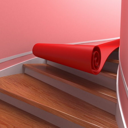wood turning: Red carpet on spiral wooden staircases. 3d Stock Photo