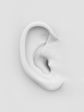 ears: Three-dimensional white soft human ear on white background. 3d Stock Photo