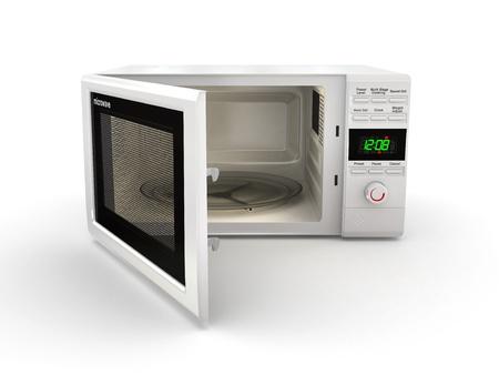 Öffnen Sie weiß Mikrowelle auf weißem Hintergrund. 3d Standard-Bild