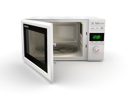 commercial kitchen: Open white microwave on white background. 3d Stock Photo