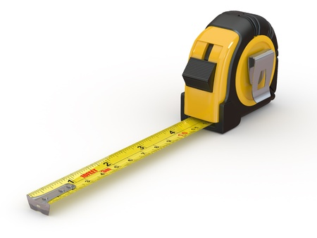measurement tape: Tools. Measure tape on white background. 3d Stock Photo