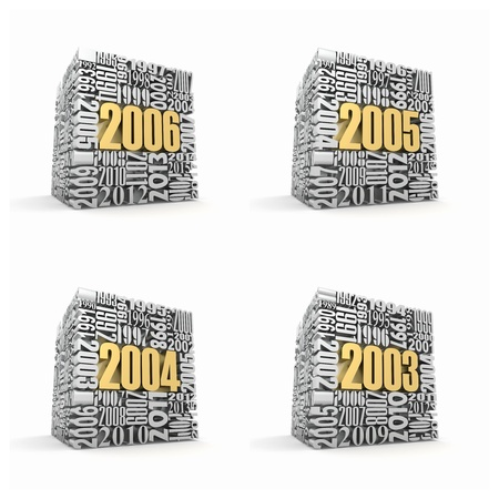 variation: New year 2006, 2005, 2004, 2003. Cube consisting of the numbers. 3d Stock Photo