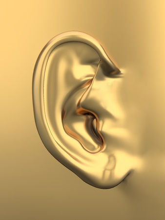 listening to people: Three dimensional golden metallic human ear. 3d Stock Photo