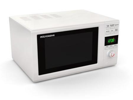 microondas: Cerrado microondas blanco sobre fondo blanco. 3d Foto de archivo