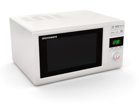 Closed white microwave on white background. 3d photo