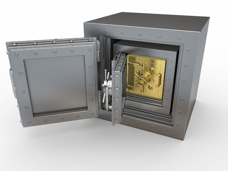 Triple protection. Few vaults in the vault. 3d Stock Photo - 12127337