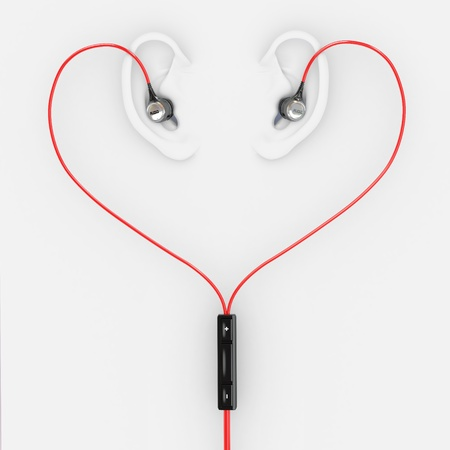 headset symbol: Ears and earphones  in the form of heart. 3d