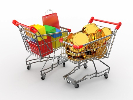 Consumerism. Purchase of goods for money. Shopping cart with boxes and coins. 3d Stock Photo - 12127343