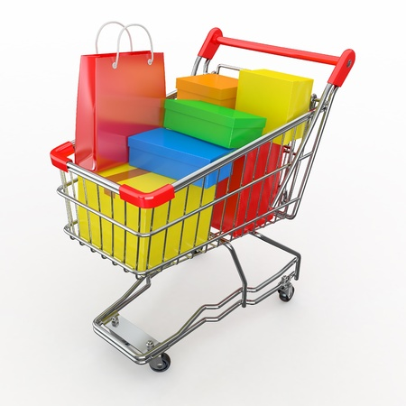 product cart: Gift buying. Shopping cart full of boxes. 3d Stock Photo