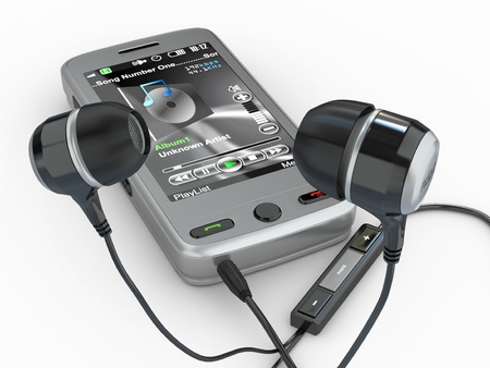 phone system: Mobile phone with headphones on white background. 3d