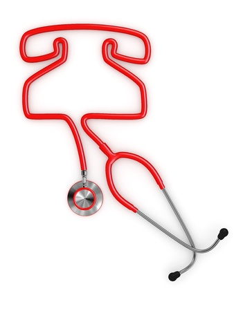 emergency call: Stethoscope and a silhouette of phone. 3d Stock Photo