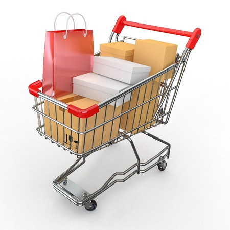 e cart: Gift buying. Shopping cart full of boxes. 3d Stock Photo