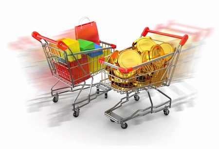 Consumerism. Purchase of goods for money. Shopping cart with boxes and coins. 3d Stock Photo - 12127383