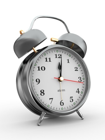 12: Midnight. Old-fashioned alarm clock on white background. 3d Stock Photo