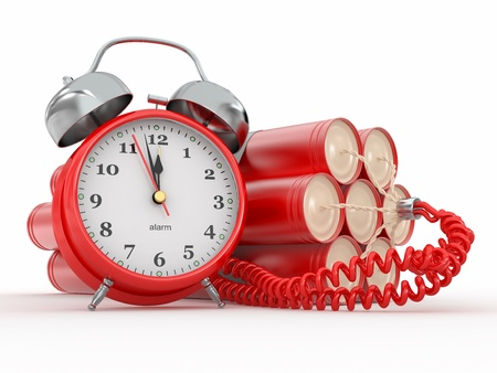 Countdown.  Time bomb with alarm clock detonator. Dynamit. 3d Stock Photo - 12127380